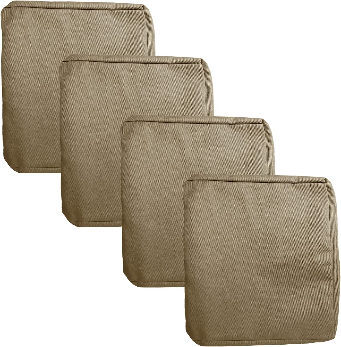 FLYMEI Patio Cushion Covers 20X18, Outdoor Cushion Replacement Seat Covers, Large Chair Seat Covers 4 Pack, Taupe Seat Slip Covers
