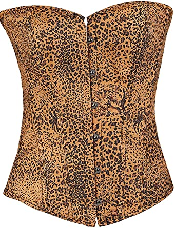 Coolweary Womens Sports Vintage Floral Lace Overbust Basque Waist Corset Body Shaper