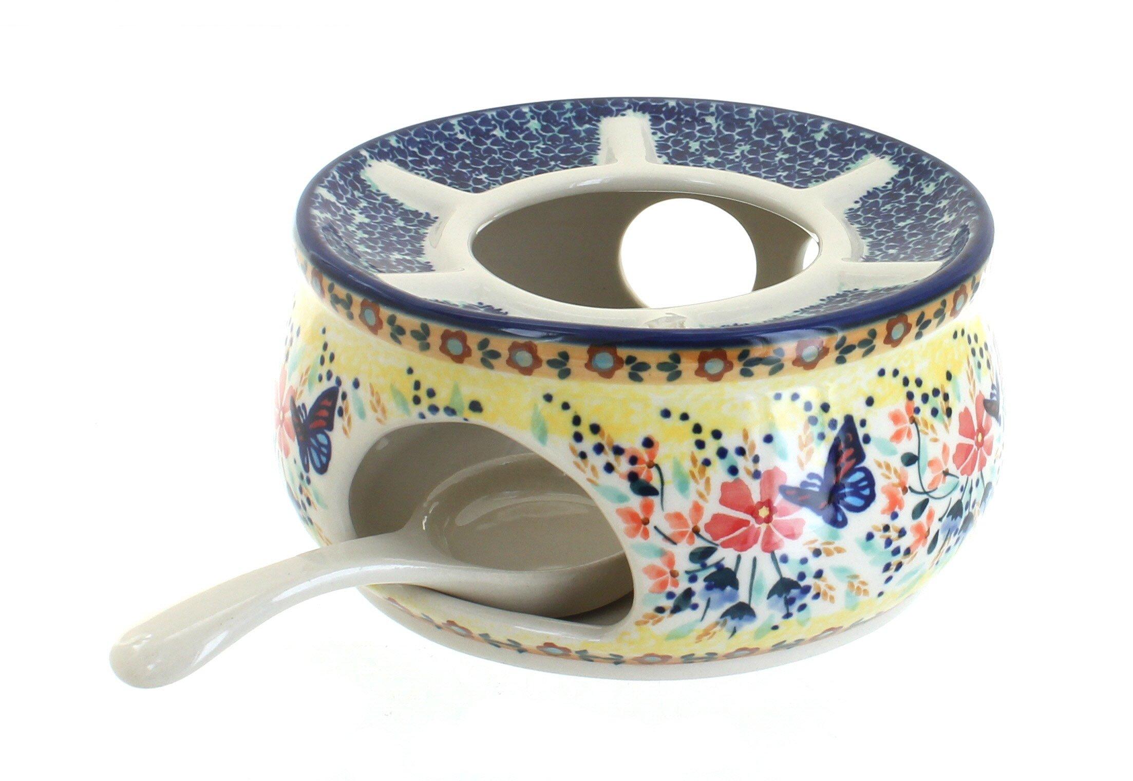 Polish Pottery Blue Butterfly Teapot Warmer by Blue Rose Pottery