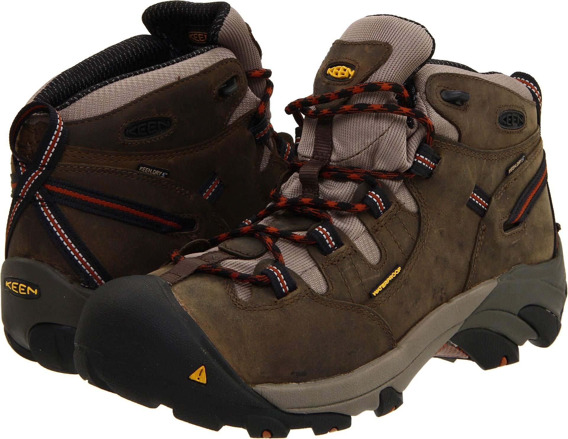 KEEN Utility Men's Detroit Mid Soft Toe Work Boot,Black Olive,11 D US