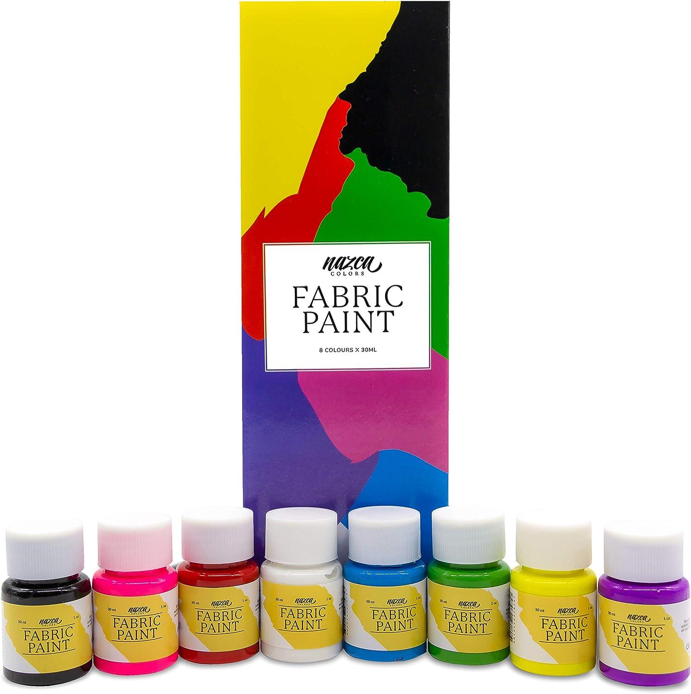 Pintura para Tela y Ropa Permanente con Gran Capacidad de Cobertura Nazca – Set 8 Colores x 30ml – Pack de Pintura Textil ideal para Pintar tus Camisetas, Bolsas, Vaqueros, Cojines y cualquier Tejido