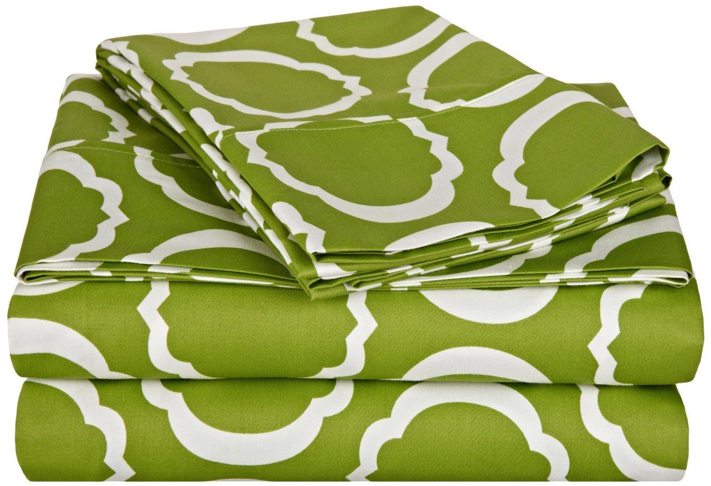 Scroll Park Sheet Set, 600-Thread-Count,Cotton Rich, Twin XL, Green/White B076X85SFL グリーン/ホワイト Twin XL