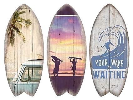 KandyToys Juego de 3 tablas de surf de madera impresas para decoración de pared, diseño