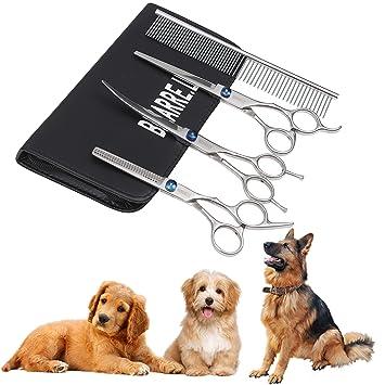 LY 4 Piezas Kit de Peluquería Canina Perros y Gatos -Tijeras de Mascotas Incluye Acero Inoxidable Tijeras Curvas, Tijeras de Recorte y Peine: Amazon.es: ...