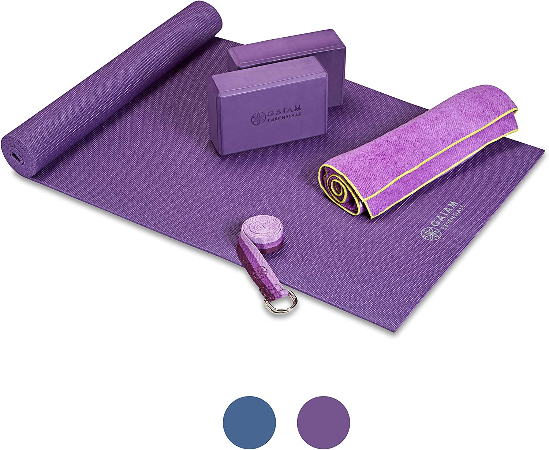 "Hot Yoga Towel 6ft Yoga Strap with Yoga Mat Carrier Sling Kit Includes Premium Yoga Mat Gaiam Essentials Yoga Mat Set for Beginners Yoga Block 2 Pack 72/""Long x 24/""W x 6mm Thick"