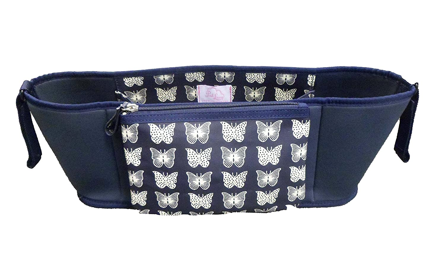 Pink Lining Pram/Stroller Buggy Organiser Bag- Butterflies On Navy Includes Velcro Straps And A Detachable Purse Section