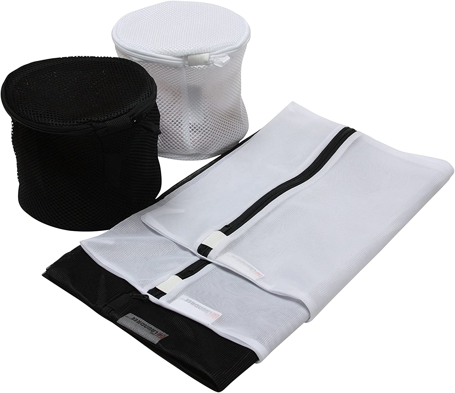 Mesh Laundry Bags - Set of 5 (2 Large, 1 Medium & 2 Premium Round Double Layer Wash Bags - White & Black) for Delicates, Reusable Face Masks, Socks, Baby Items and Laundry Travel Organization