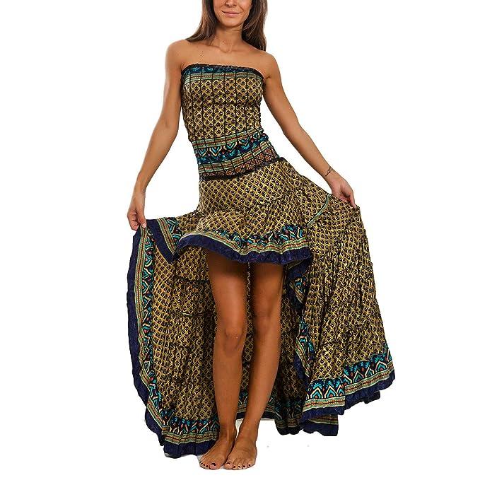 11ebcb29e833 Toocool - Vestito Donna Asimmetrico Etnico Ibiza Coda Mini Abito Boho Gipsy  Sexy PW-28  Taglia Unica