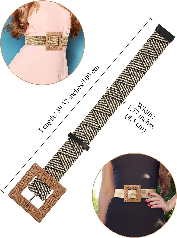 3 Pieces Straw Woven Elastic Stretch Waist Belt Skinny Dress Braided Waist Belt Wood Color Buckle for Women