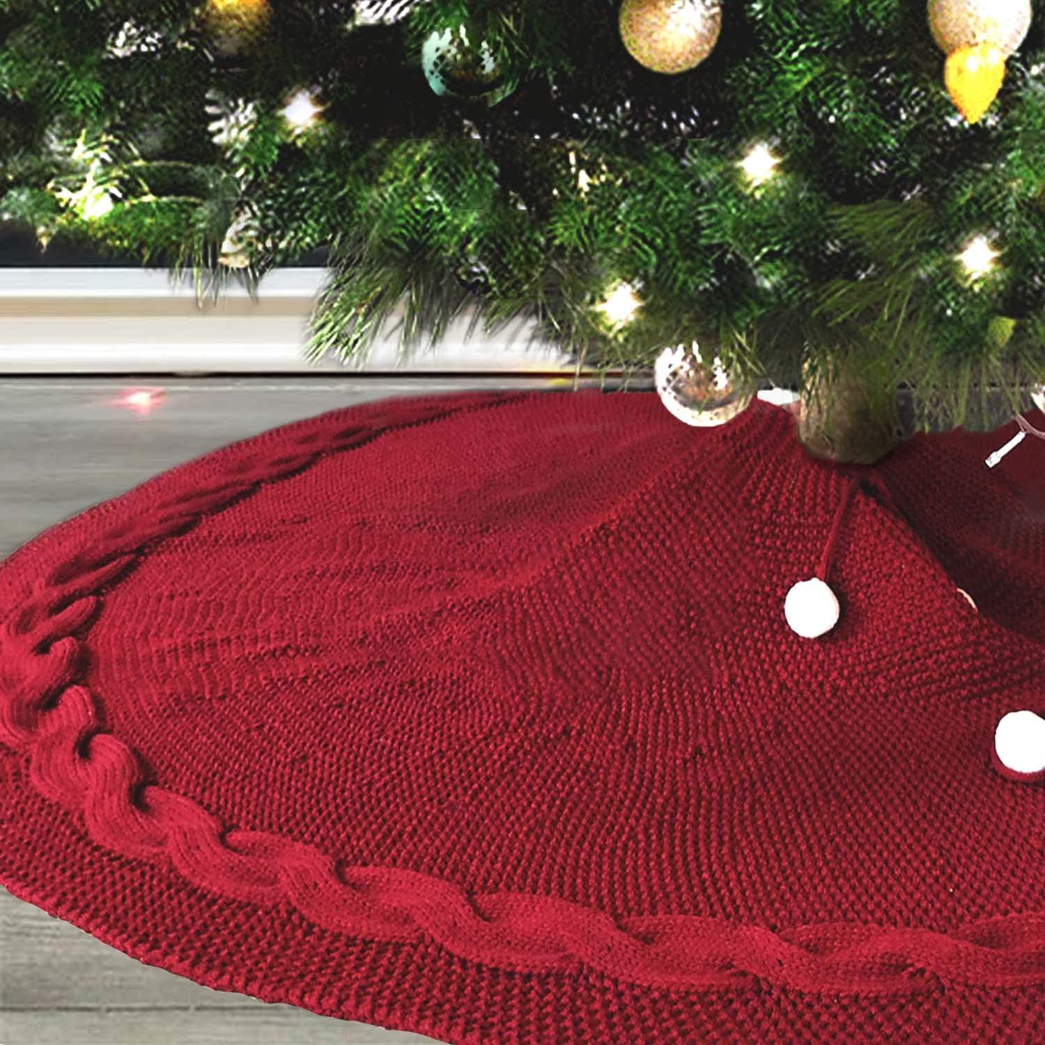 MACUNIN Christmas Tree Skirt 48 inches Traditional Knitted Thick Rustic Tree Skirt Off White Luxury Skirt for Xmas Holiday Decorations Indoor Outdoor