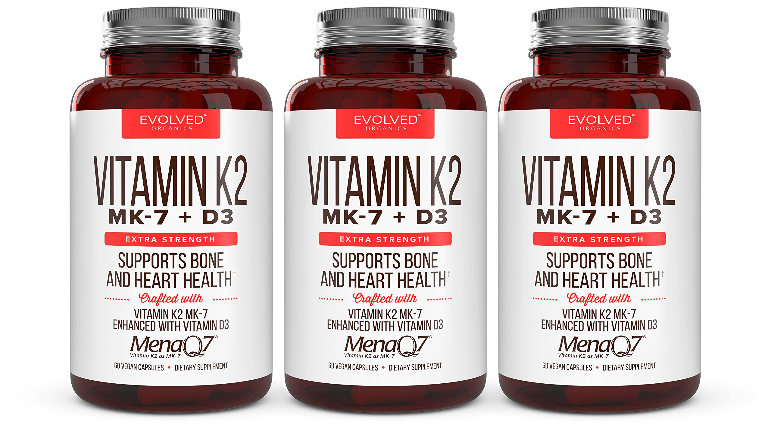 Premium Extra Strength Vitamin K2 with D3- for Healthy Bones, Healthy Heart & Cardiovascular Health, 60 Small & Easy to Swallow Caps MenaQ7 180 mcg & Vitamin D3 5000 IU (3 Pack)
