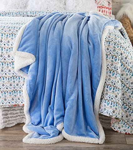 Amazon North End Décor Large Ultra Plush Sherpa Throw Blanket Beauteous Periwinkle Throw Blanket