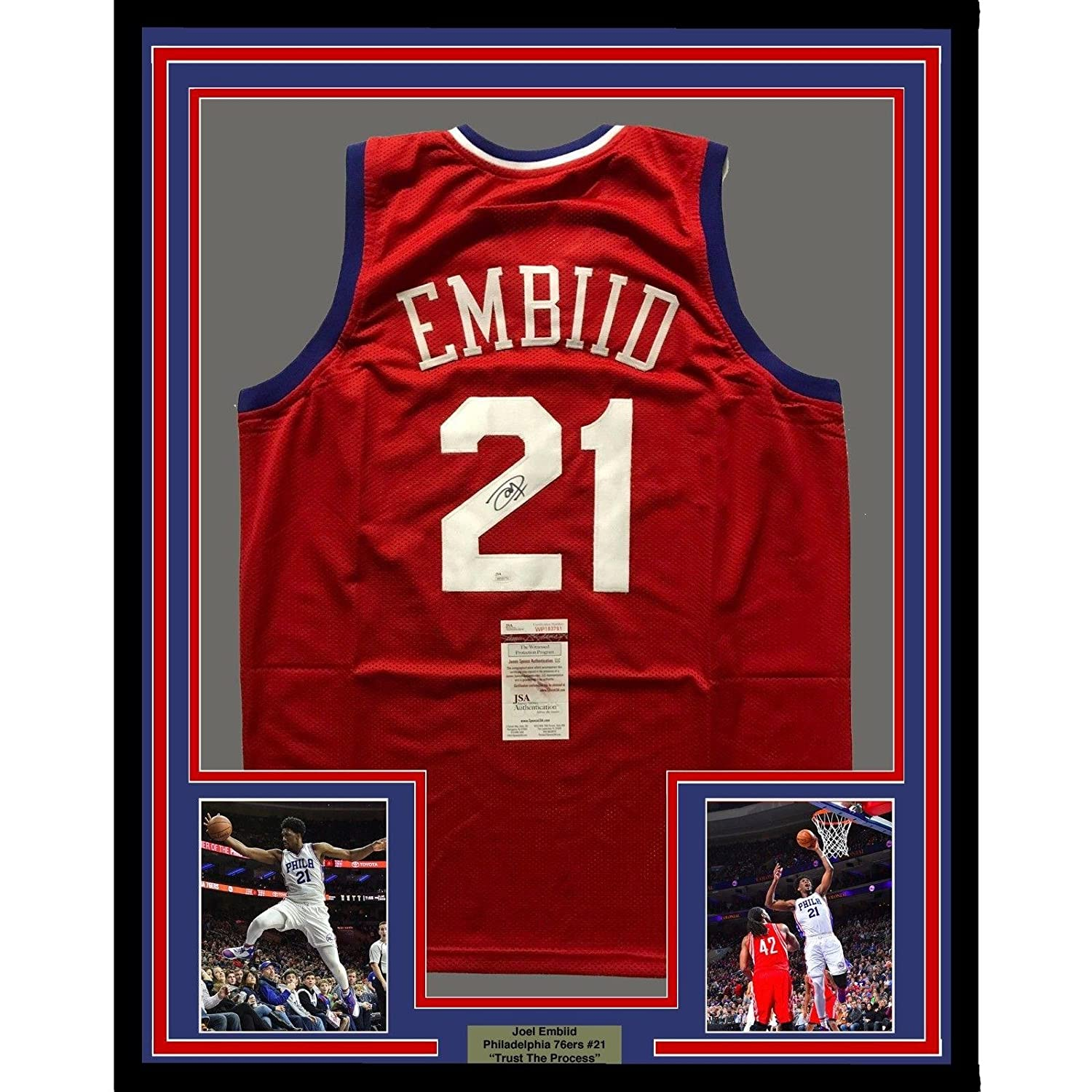 the best attitude f471b e07f5 on sale Signed Joel Embiid Jersey - FRAMED 33x42 Sixers Red ...