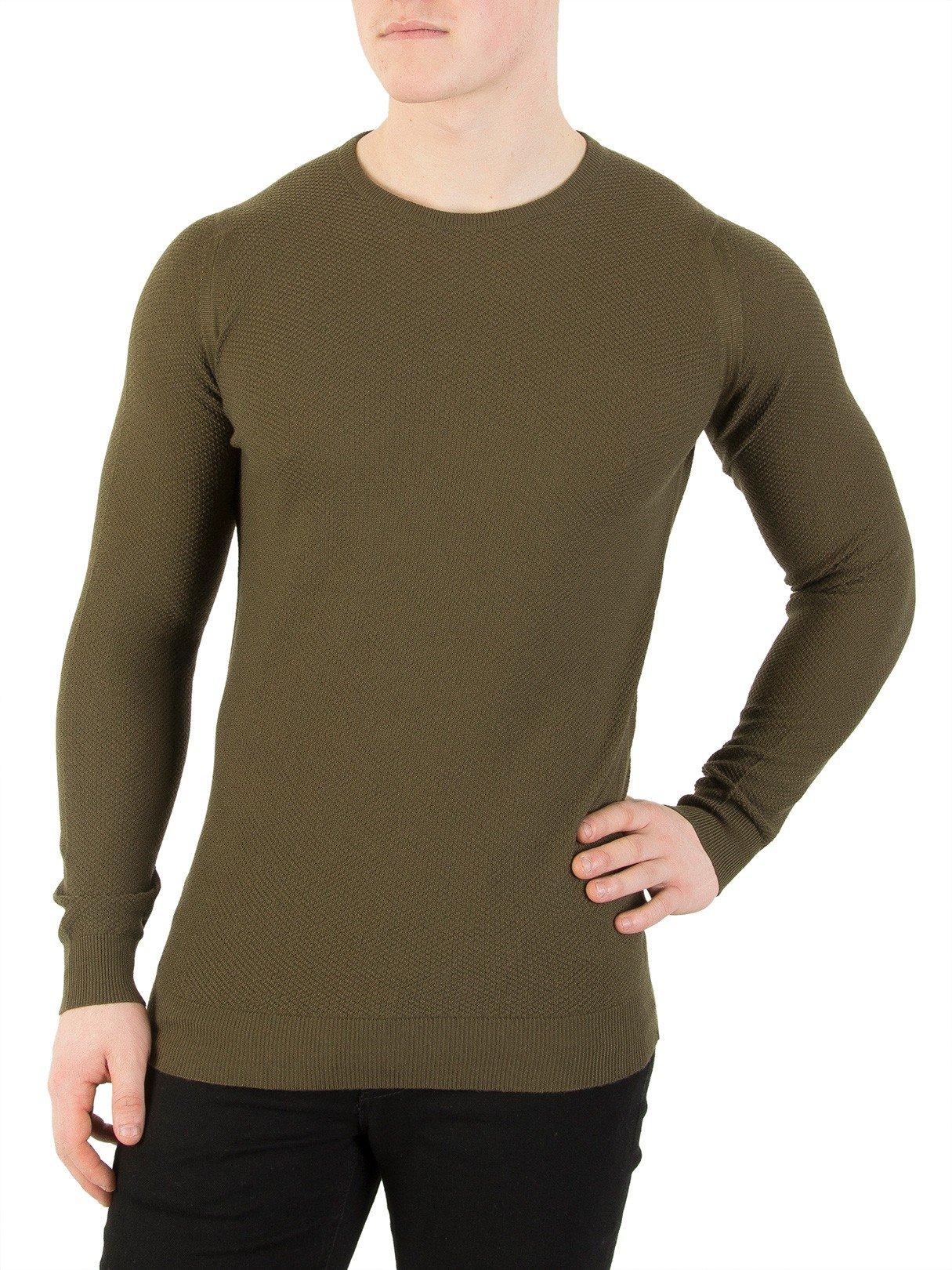 John Smedley Men's 1.singular Textured Knit, Green, X-Large