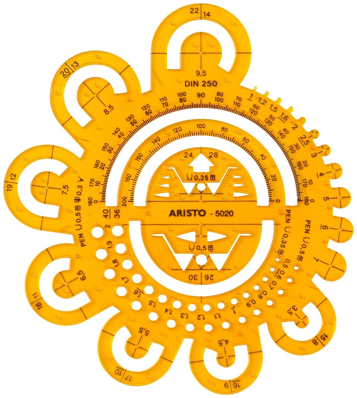 Aristo Abrundungsschablone mit verschiedenen Radien und Symbolen transparent gelb