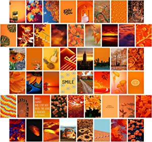 Orange Red Wall Collage Kit 50 Set Aesthetic Pictures Aesthetic Room Decor Bedroom Decor for Teen Girls and boys Decor Wall Collage Kit ( 4x6 inch)