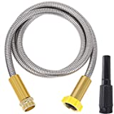 FOXEASE Metal Garden Hose 5FT - Short Hose Stainless Steel Heavy Duty Water Hose with Solid Adjustable Nozzle Portable & Ligh