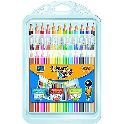 BIC Kids Set para Colorear - 8 rotuladores/8 Lápices para Colorear/12 Ceras, colores Surtidos, Estuche de 36 unidades: Oficina y papelería