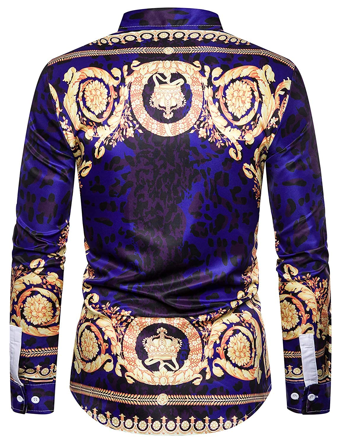 ief.G.S Mens Luxury Printed Dress Shirts Fashion Long Sleeve Silm Fit Design Novelty Button-Down Shirts