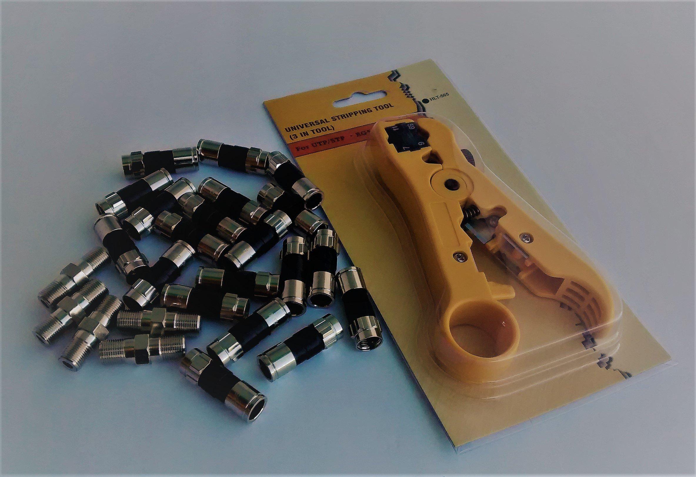 Coax Compression Connector Starter Kit - RG6 PPC EX6 XL PLUS (Belden/PPC) Quad Connectors, Universal Stripper/cutter Tool and PPC High Freq Barrel Connectors - Rg6/RG59 Series