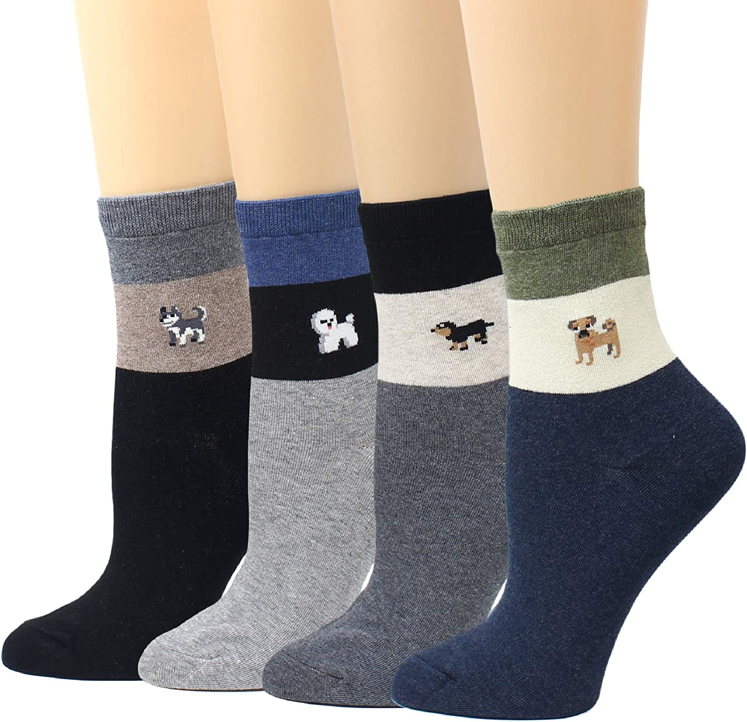 4-8 Pairs Ladies Cotton Socks Elasthan Free Roller Cuff Funky Design Multicolor