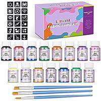 lenbest 15 Colores 20 ml Pintura para Tela y Ropa Permanente, Pintura Textil Permanente y Lavable con 3 Pinceles y 9…
