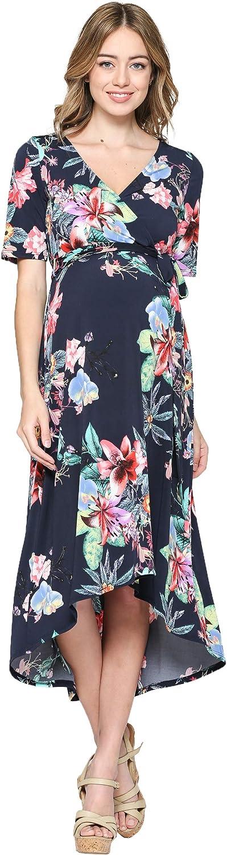 HELLO MIZ Women's Maternity High Low Dress with Waist Belt