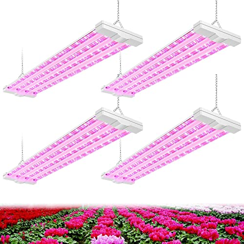 AntLux 4ft LED Grow Plant Lights 80W 600W Equivalent Full Spectrum Integrated Growing Lamp Fixture for Greenhouse Hydroponic Indoor Seedling Veg and Flower, Plug in with on Off Switch, 4 Pack