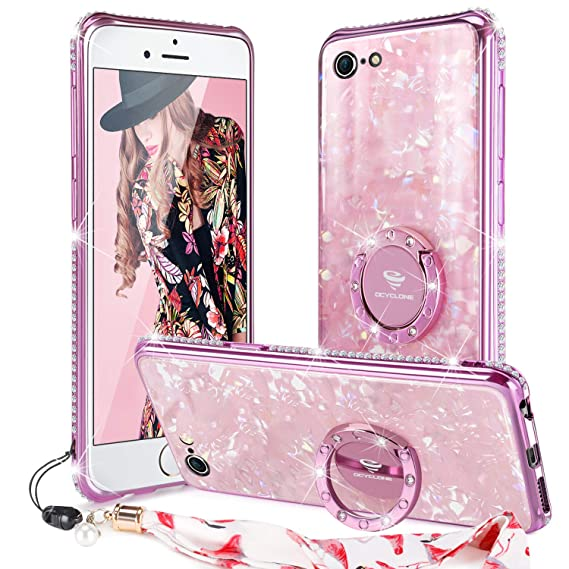 super popular 114d4 3c514 OCYCLONE iPhone 6/ 6s Case Glitter with Ring Holder Grip Kickstand for  Women Girls, [Tempered Glass] Bling Diamond Bumper with Ring Stand Cute ...