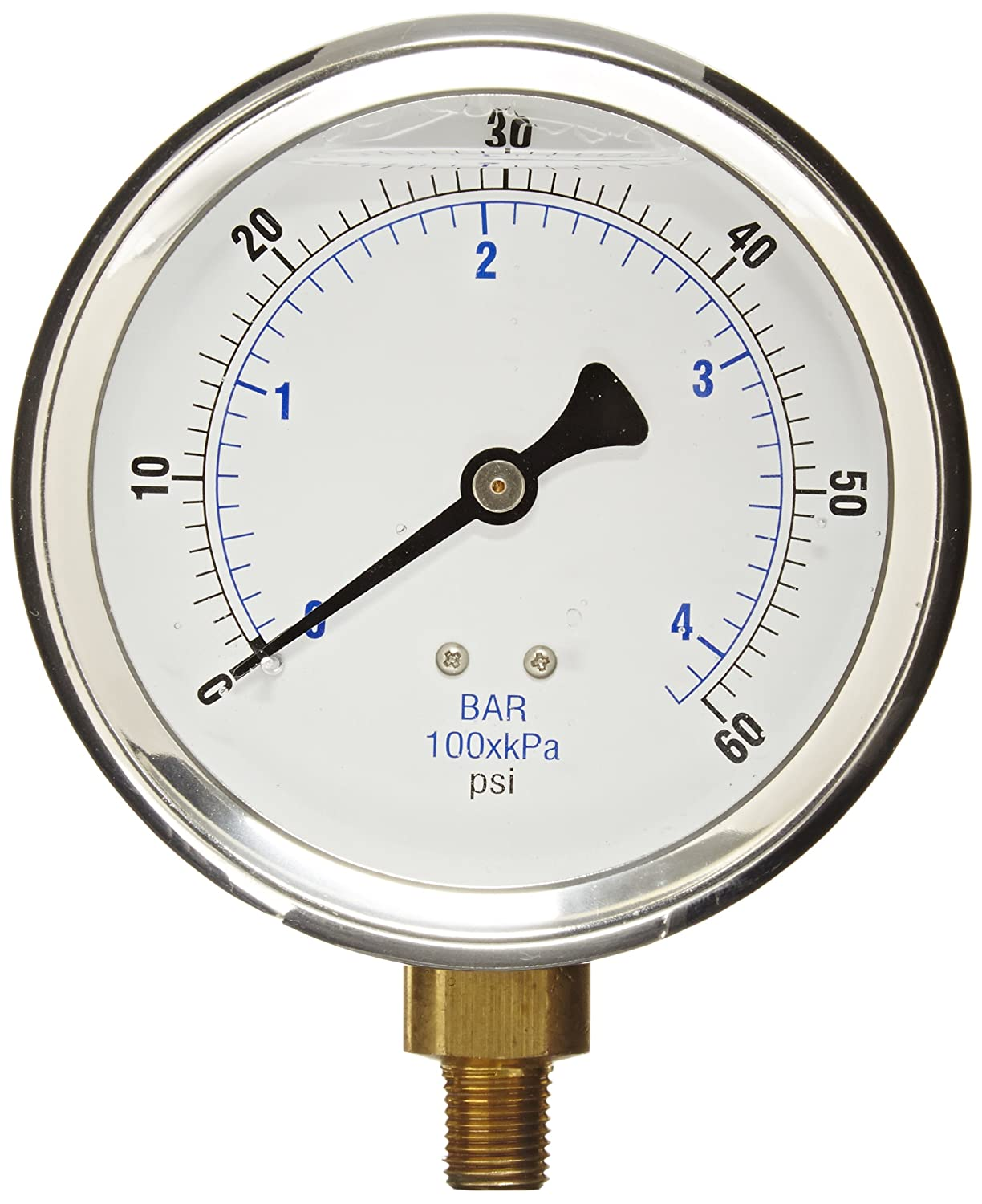 PIC Gauge 201L 404D 4 Dial 0 60 psi Range 1 4 Male NPT Connection Size Bottom Mount Glycerine Filled Pressure Gauge with a Stainless Steel Case Brass Internals Stainless Steel Bezel and Polycarbonate Lens