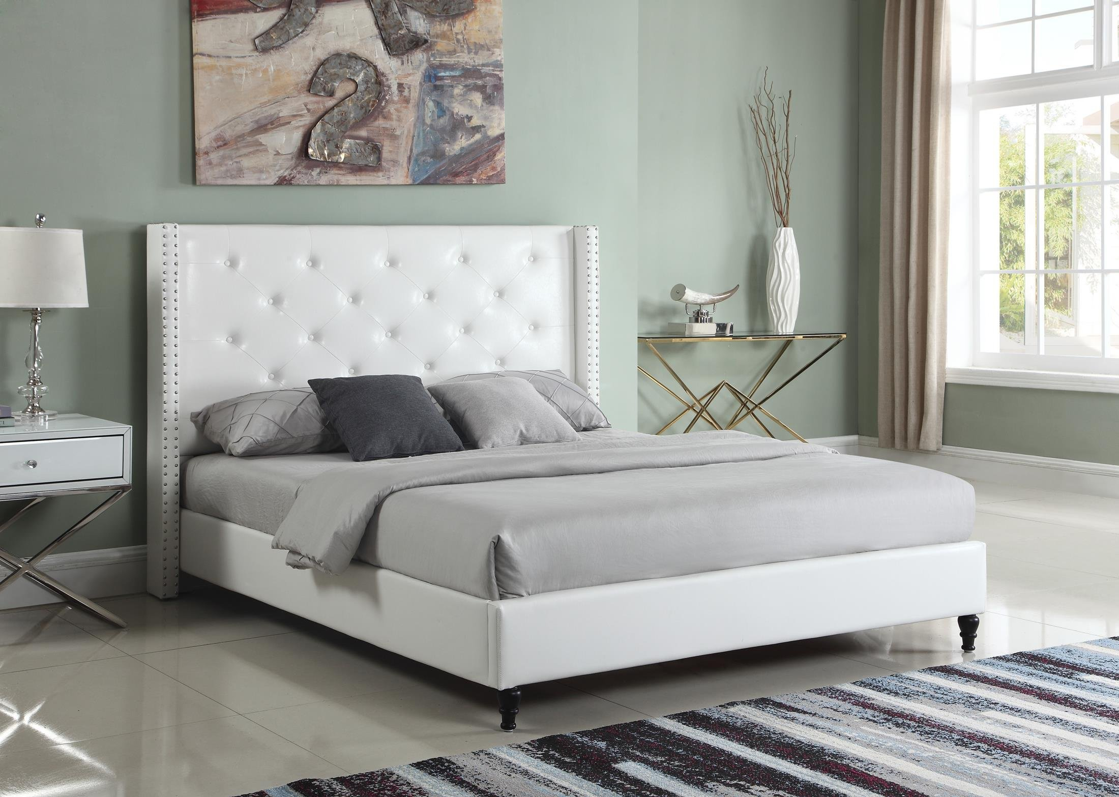 Home Life Premiere Classics Leather White Tufted with Nails Leather 51'' Tall Headboard Platform Bed with Slats Full - Complete Bed 5 Year Warranty Included 007