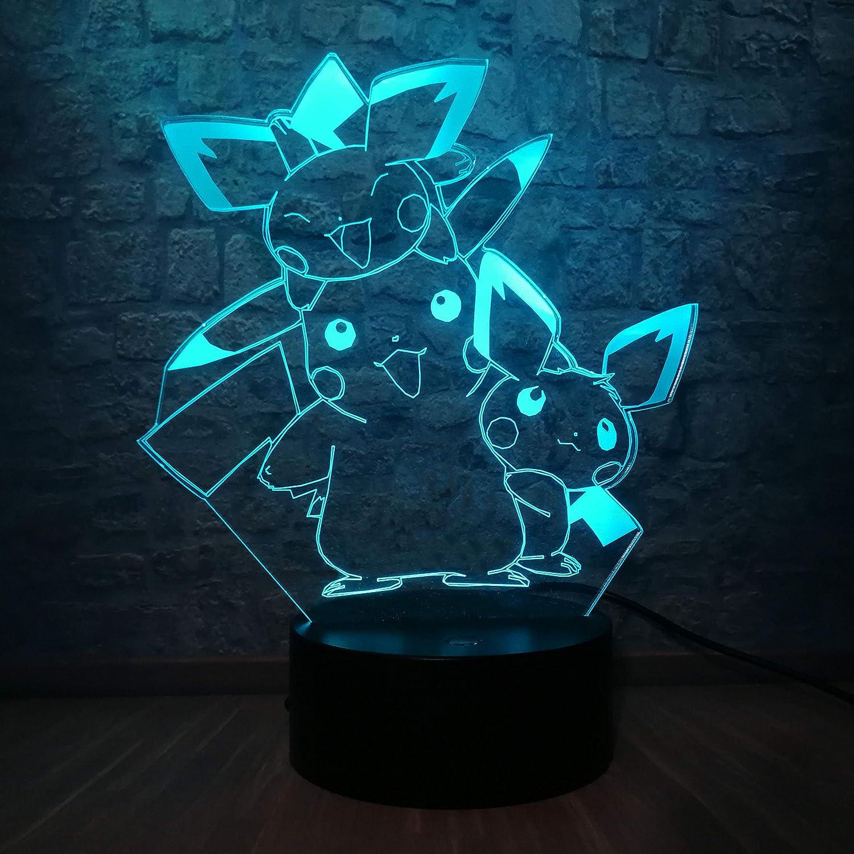 sanzangtang luz Nocturna led-3D-siete Colores-Control Remoto ...