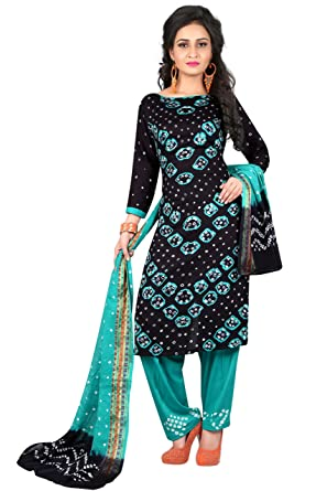 62ebfdfa05 Concepta Women's Satin & Cotton Bandhej Unstitched Dress Material  (Black_Free ...