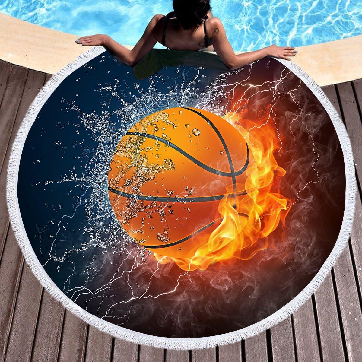 Baloncesto Toalla de playa grande redondo microfibra toalla de ...