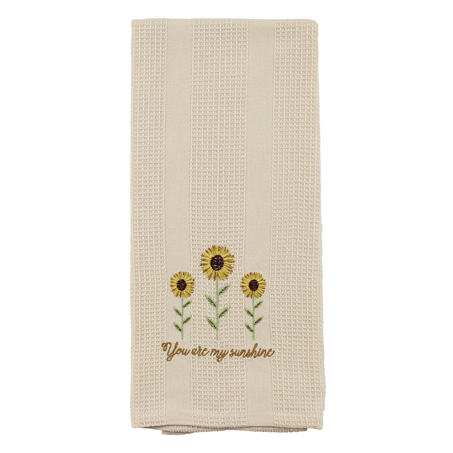 Cream You Are My Sunshine Sunflower 19 x 28 Inch Embroidered Cotton Waffle Dish Towel