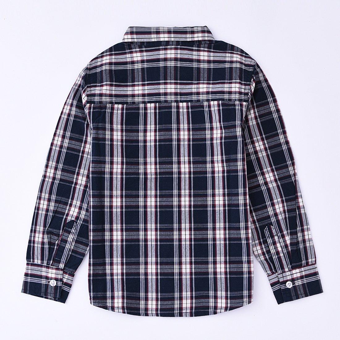 MOMOLAND Toddler Boys Long Sleeve Button Down Woven Plaid Check Shirts