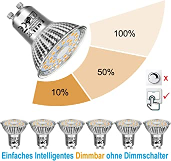 EACLL Bombillas LED GU10 Regulable Blanco Cálido, 6W 2700K 570 Lúmenes, 3 tipos de brillo. Ajuste