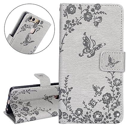 Grigio ISAKEN Compatibile con Samsung Galaxy Note 4 Custodia Libro