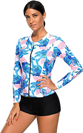 SherryDC Women's Zip Front Tropical Printed Long Sleeve Rash Guard Shirt Swimming Surfing Athletic Top
