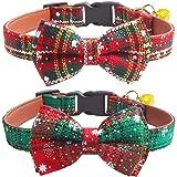 KUDES - Juego de 2 collares para perro con pajarita y campanas para gatos y mascotas pequeñas/medianas/grandes, color rojo y