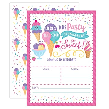 Amazon Com Ice Cream Birthday Party Invitations Girl Birthday