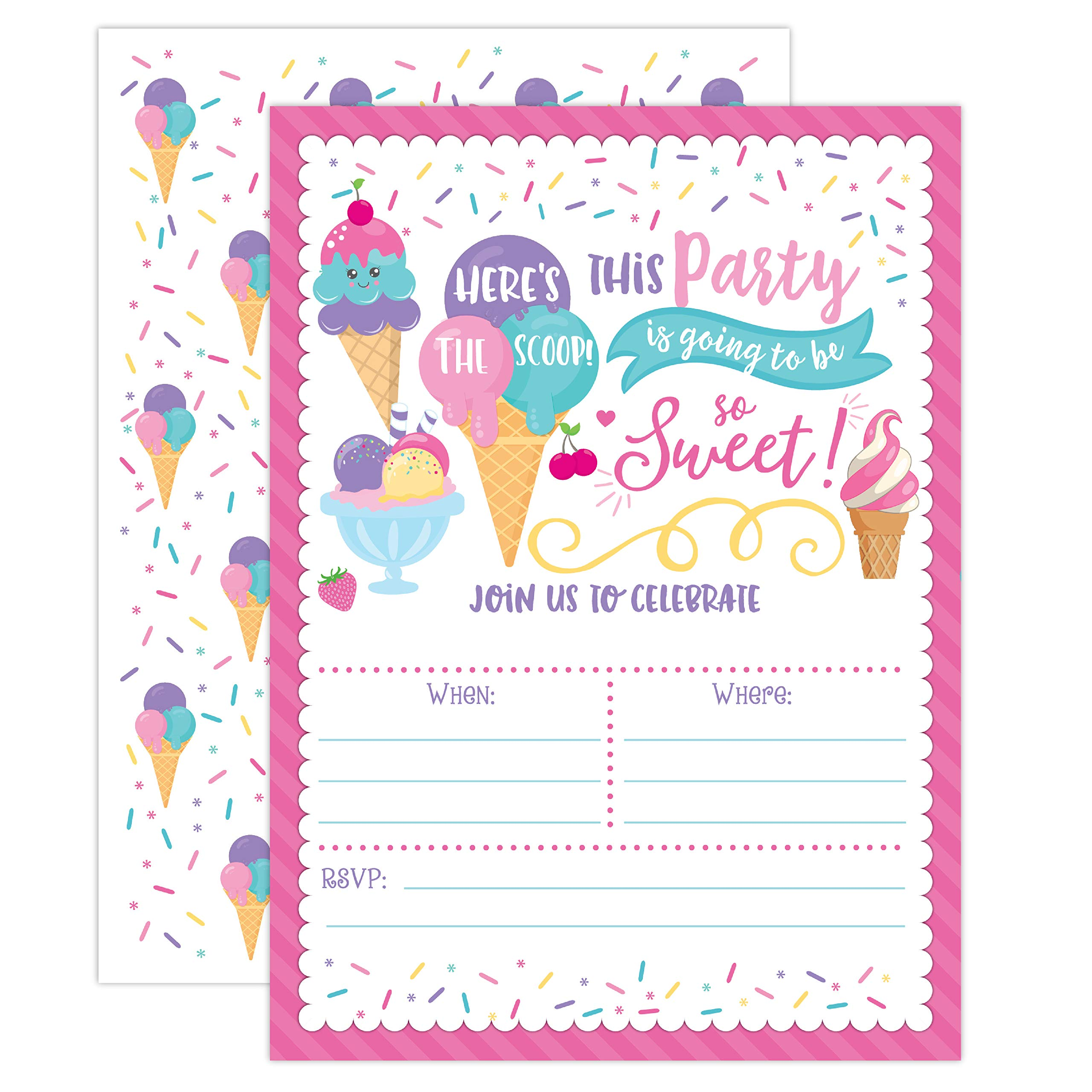 Ice Cream Birthday Party Invitations, Girl Birthday Invitations, Here's The Scoop, Ice Cream Social, 20 Fill in Invitations and Envelopes
