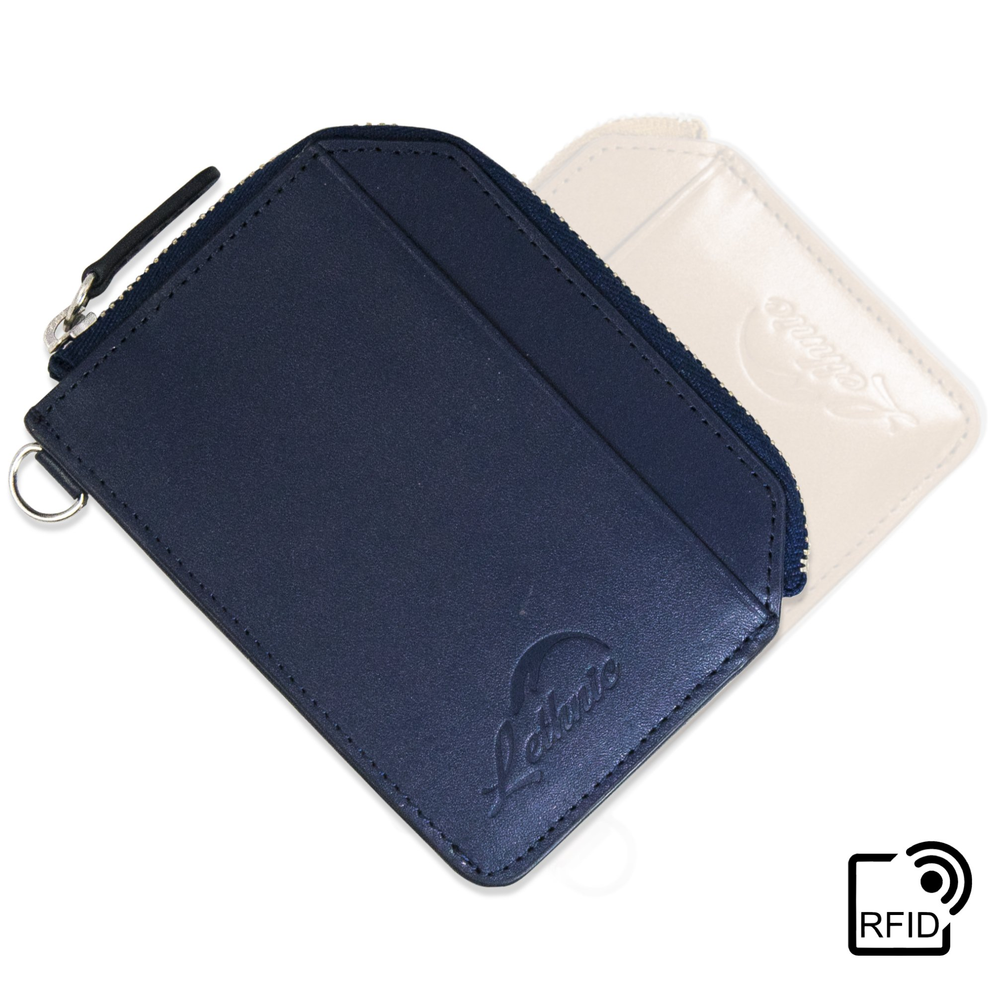 Lethnic Zip Around Wallet, Genuine Leather Metal Zipper Travel With Front Pocket, ID Window, RFID Blocking For Men/Women - Enclosed Gift Box (Navy Blue)