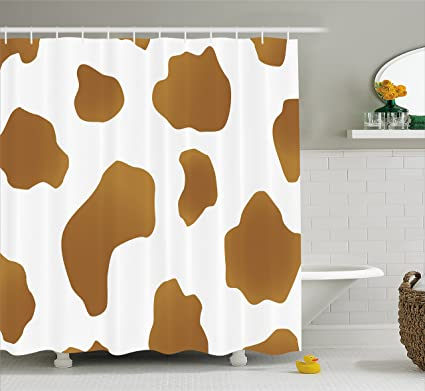 Ambesonne Cow Print Shower Curtain Brown Spots On A White Skin Abstract Art Cattle