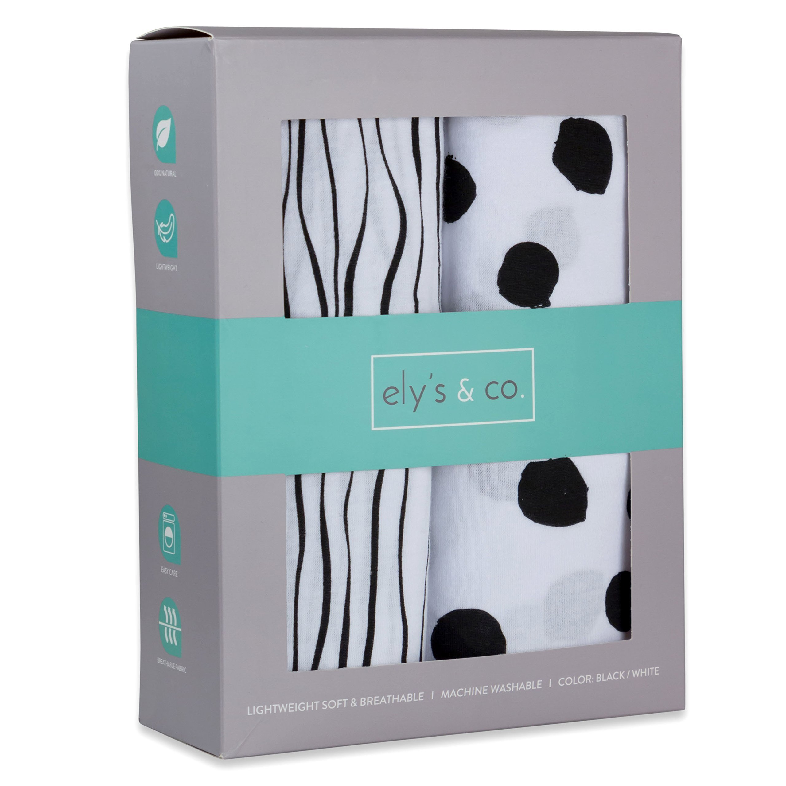 Crib Sheet Set   Toddler Sheet Set 2 Pack 100% Jersey Cotton Black and White Abstract Stripes and Dots