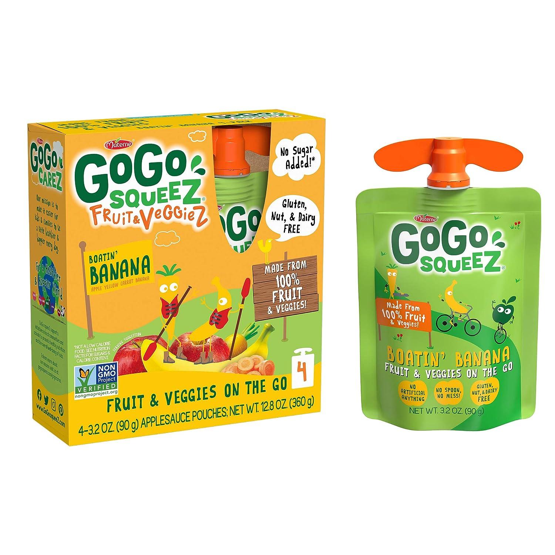 GoGo squeeZ fruit & veggieZ, Apple Yellow Carrot Banana, 3.2 Ounce (48 Pouches), Gluten Free, Vegan Friendly, Unsweetened, Recloseable, BPA Free Pouches