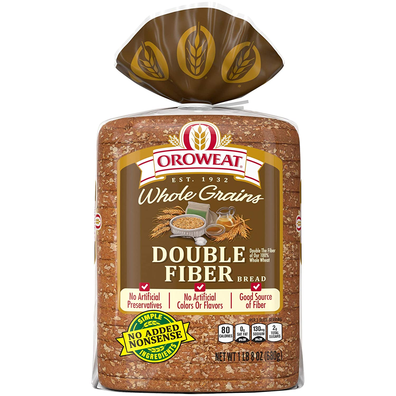 Oroweat Double Fiber Bread, Baked with Simple Ingredients & Whole Wheat, 24 oz