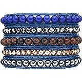 Rafaela Donata - Bracelet en cuir véritable - Perles synthétiques - Cuir véritable hématite, bracelet hématite, collier en cuir véritable, bijoux en cuir, bijoux en hématite - 60831047