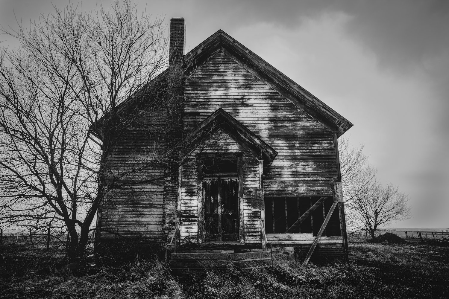 Black and White Art Photography Print - Fine Art Picture of Abandoned Schoolhouse in Western Iowa Rustic Wall Art Great Plains Photo Decor 5x7 to 30x45