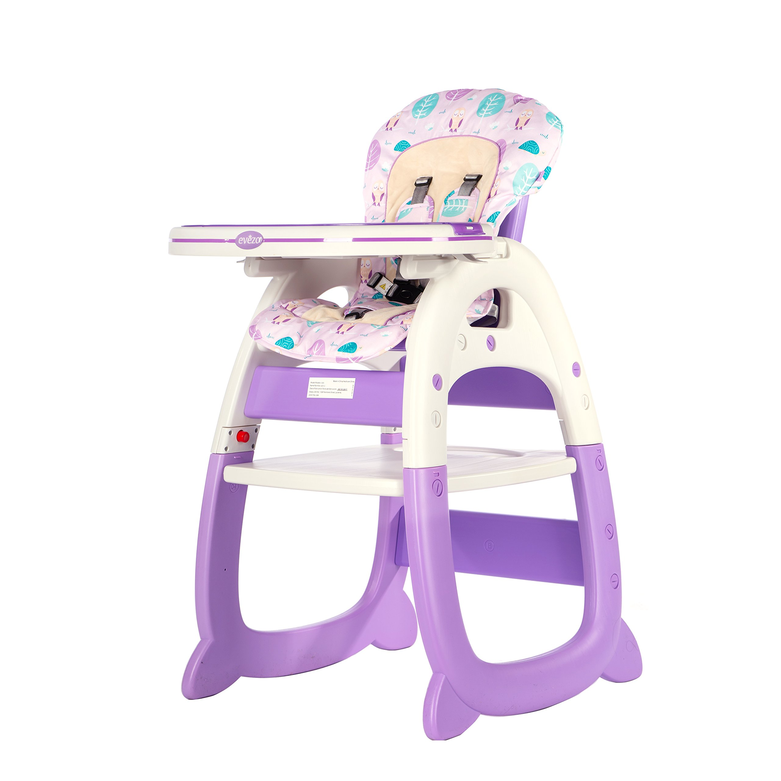 Evezo 6251A 3-in-1 Baby High Chair, Booster Seat, Desk and Chair Set, Violet